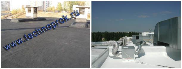 Гидроизоляция кровли выполнена жидкой резиной Технопрок (слева) и кровельной мастикой Master Roof (справа)