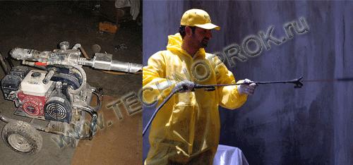 Напыление установкой однокомпонентной жидкой резиной Эластопаз при гидроизоляции фундамента