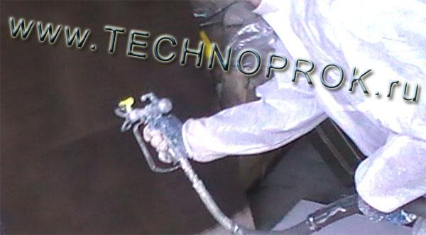 Безвоздушное напыление однокомпонентной битумно-полимерной мастики ELASTOPAZ