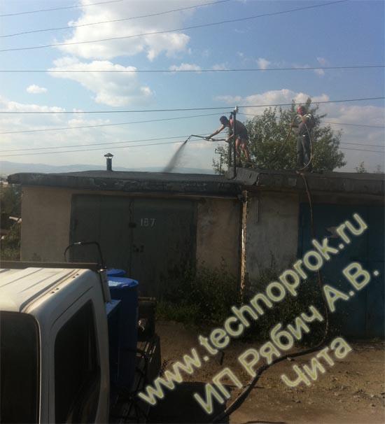 Жидкая резина Технопрок гидроизоляция крыши гаража в Чите