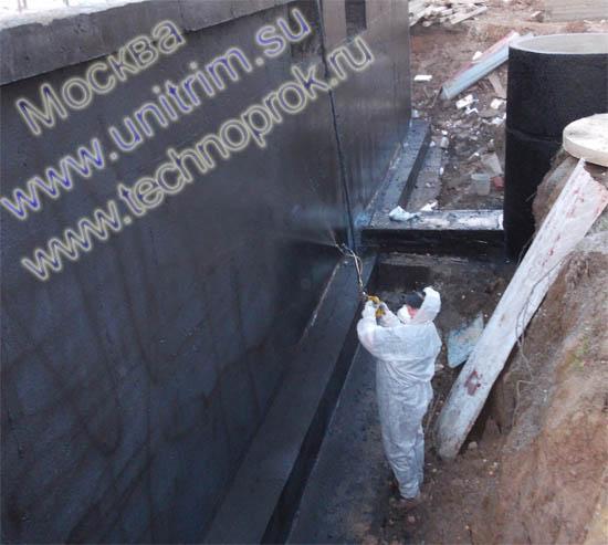 ООО Юнитрим выполняет гидроизоляцию стен фундамента жидкой резиной
