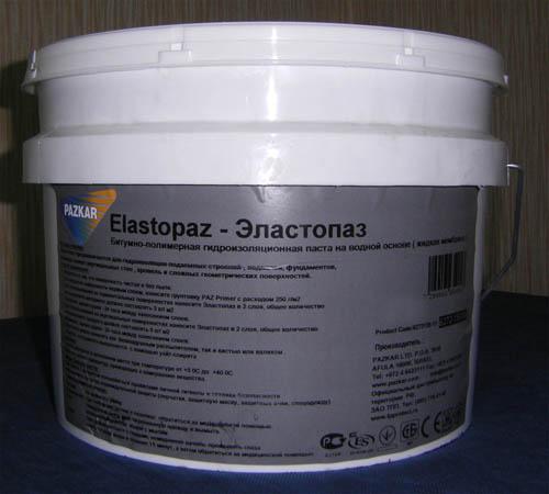 Холодная битумно-полимерная мастика на водной основе Эластопаз в упаковке 10кг