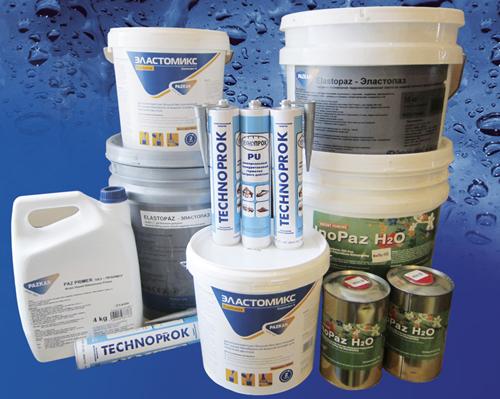 Набор различных гидроизоляционных мастик на водной основе из ассортимента компании Технопрок